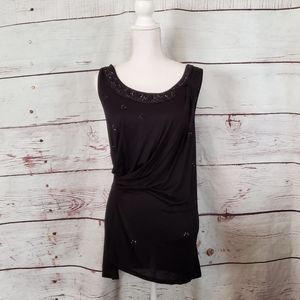 Anthropologie Leifnotes Onyx Beaded Top Size S